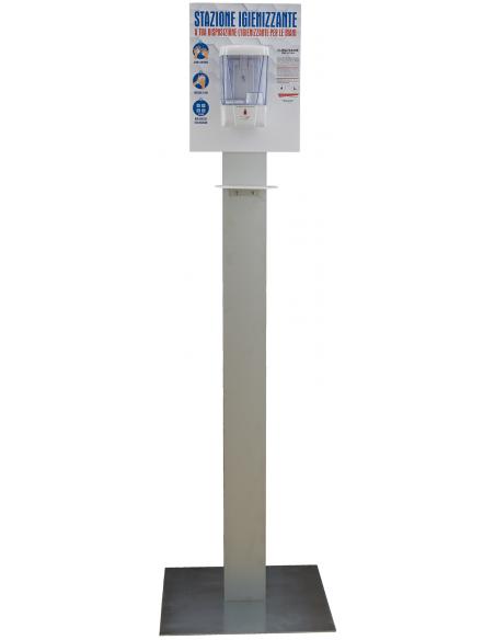 Piantana Colonna igienizzzante mani in alluminio con dispenser fotocellula - detershoponline.it