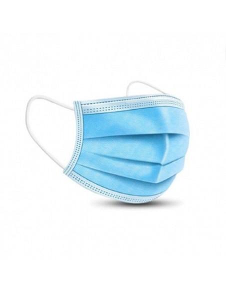 Mascherina chirurgica monouso medicale 3 veli con elastico cof. 50pz. colore azzurro antipolvere