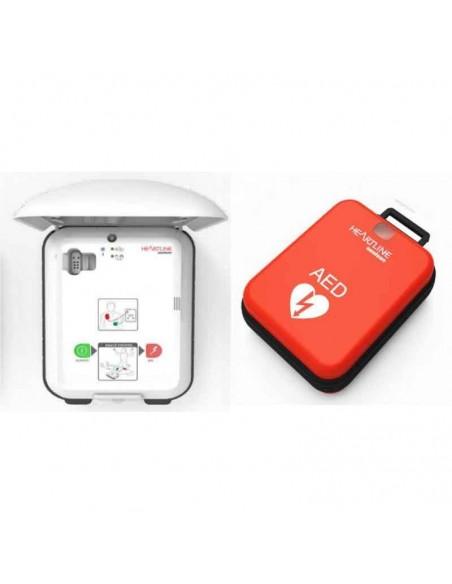 Defibrillatore Heartline Kit completo di Armadietto Cartello Borsa Piastre