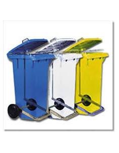 Pattumiera a pedale 120lt. c/ruote contenitore rifiuti differenziata