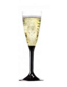Bicchiere Fluete in plastica con base nera 20 pz.