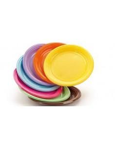 Piattini dessert in plastica colorati per feste buffet party in coordinato 30pz.