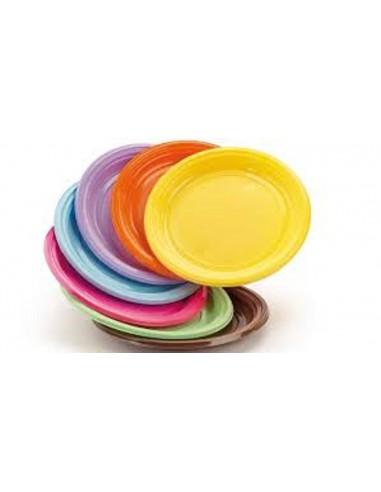 Piatto piano in plastica colorati per feste buffet party in coordinato 30pz.
