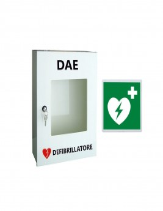 Armadio teca in metallo porta defibrillatore con cartello in metallo DAE