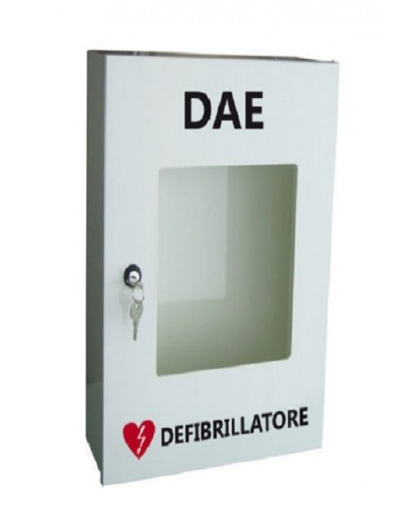 Armadio teca in alluminio per defibrillatore con serratura Pharma+